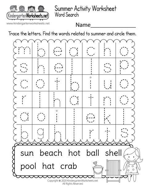 summer activity worksheet  kindergarten word search