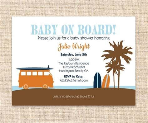 Baby On Board Template by Surfboard Baby Invitation Surfer Dude Baby Shower Or