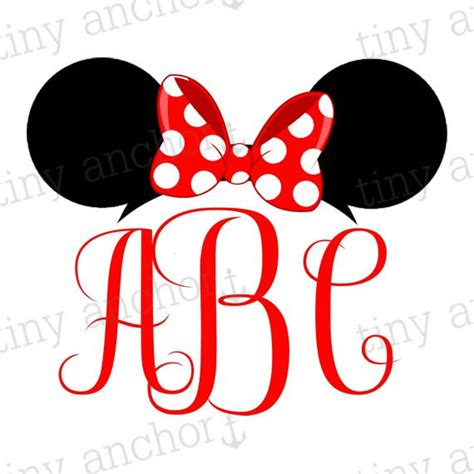 minnie mouse monogram choose your color printable personalized minnie mouse ears