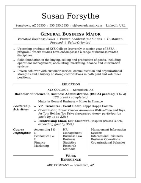 College Resume Template College Resume Sle