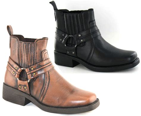Ankle Boots : Mens Maverick Cowboy Gusset Pull On Biker Heel Ankle Boots