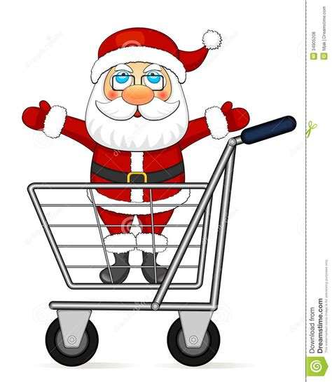 santa claus in shopping cart royalty free stock photos