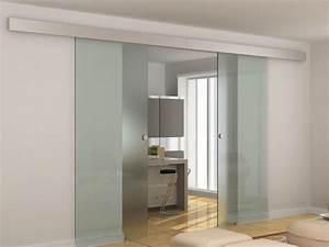 Porte A Galandage Double : porte coulissante double alina h205 l166cm verre tremp 8mm ~ Premium-room.com Idées de Décoration