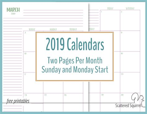 pages month calendars ready scattered squirrel
