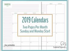 2019 Two Page Per Month Calendars Scattered Squirrel