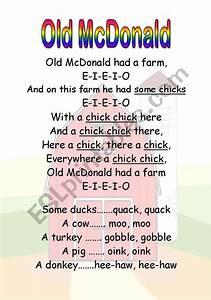 English Worksheets Old Mcdonald