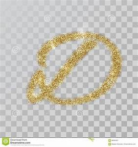 Gold Glitter Powder Letter D In Hand Painted Style. Stock ...