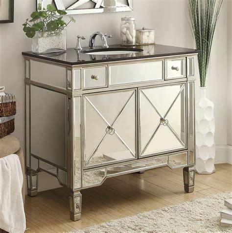 Adelina 36 Inch Mirrored Silver Bathroom Vanity Black Top
