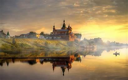 Russia Landscape River Monastery Desktop Wallpapers Mobile