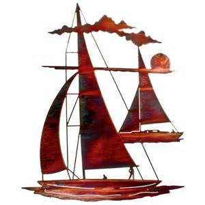 24 quot catch n sail floating sailboat metal wall art