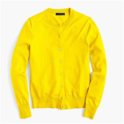 yellow cardigan sweater j crew cotton jackie cardigan sweater in yellow for lyst
