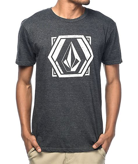volcom geosketchtic charcoal t shirt