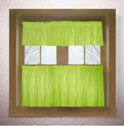 lime green color tier kitchen curtain two panel set