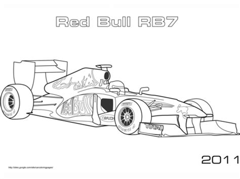 Red Bull Rb7 Formula 1 Car coloring page Free Printable