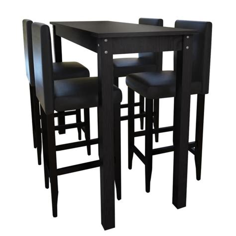 table de bar cuisine set de 1 table bar et 4 tabourets noir achat vente