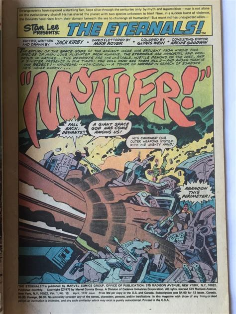 THE ETERNALS # 10 page 1 - 1977 SIGNED JACK KIRBY, in Red ...