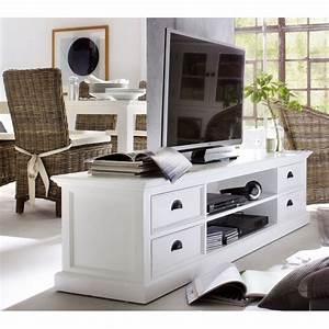 Meuble Bois Et Blanc : meuble tv blanc 4 tiroirs 2 tag res bois massif ~ Teatrodelosmanantiales.com Idées de Décoration