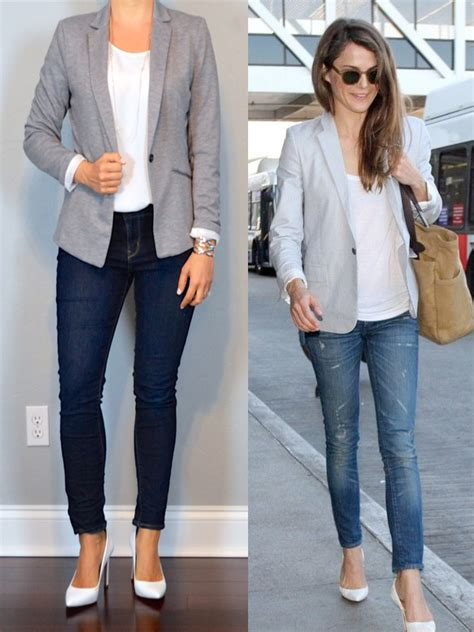 Outfit post grey jersey blazer white shell skinny jeans white pumps