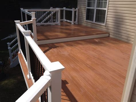 western states decking kansas fiberon pro tect deck in western cedar with vinyl rails