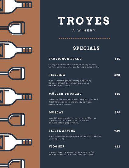 customize  wine menu templates  canva