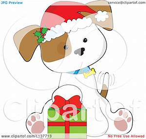 Cartoon Of A Cute Christmas Puppy With A Santa Hat And ...