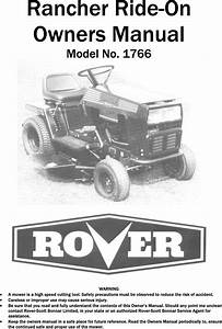 Rover 1766 Users Manual Rancher Ride On