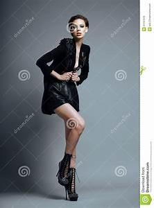 Vogue Style Stylish Woman Fashion Model In Trendy Black