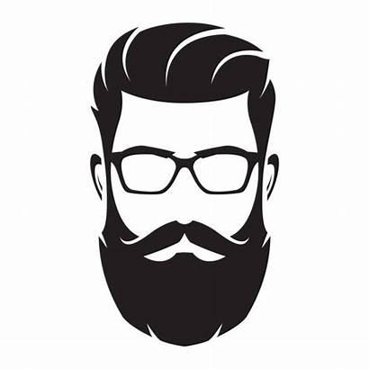 Beard Silhouette Bearded Glasses Face Vector Hipster