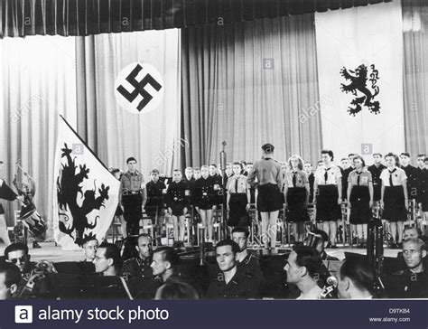 The Choir Of The Flemish Hitler Youth And The German Girls League Is Stock Photo, Royalty Free Image