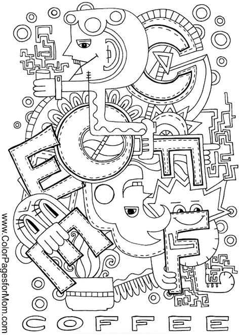 Coffee coloring book for adults double relaxation. Coloring pages for adults - coffee coloring page 2