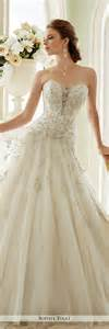 dropped waist wedding dress strapless tulle a line wedding dress tolli y21670