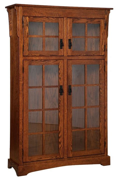 Mission Bookcase Glass Doors by Amish Handcrafted Mission Arts Crafts Bookcase Solid