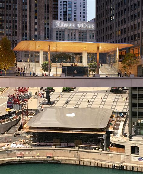 apple michigan avenue store with macbook roof made from carbon fiber opens in chicago