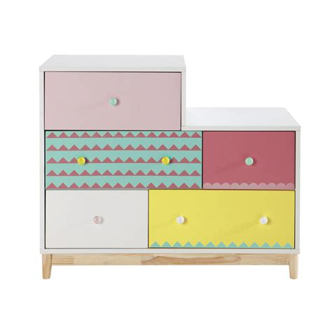 beau bureau commode enfant en bois multicolore l 100 cm berlingot