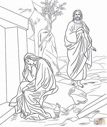 Jesus Resurrection Coloring Mary Magdalene Appears Pages