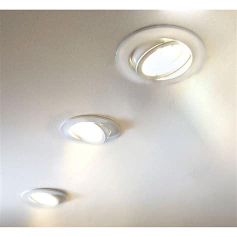 kit 3 spots 224 encastrer tedo orientable led eglo gu10 blanc leroy merlin