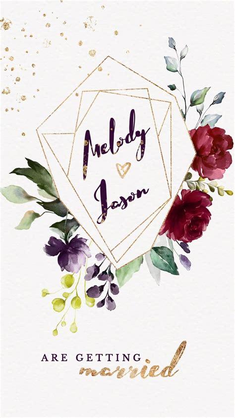 Burgundy Gold Floral Wedding Invitation Video Electronic