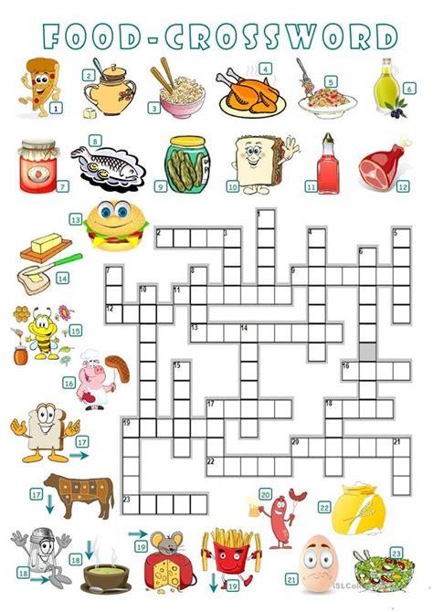food crossword worksheet  esl printable worksheets