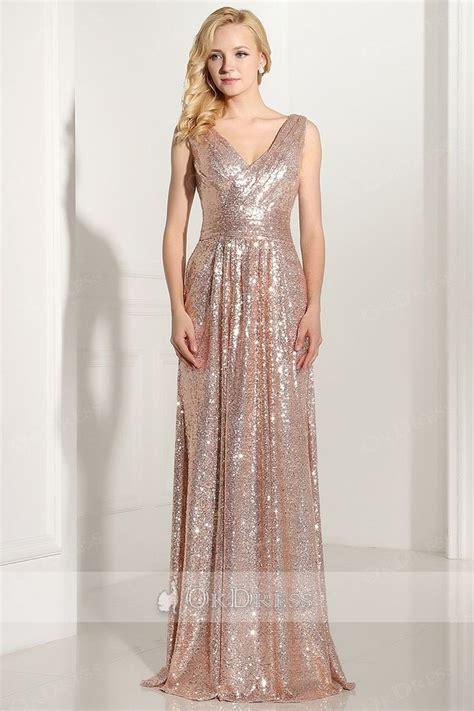 Sheath/Column Sleeveless V-neck Long Sequined Formal Prom ...