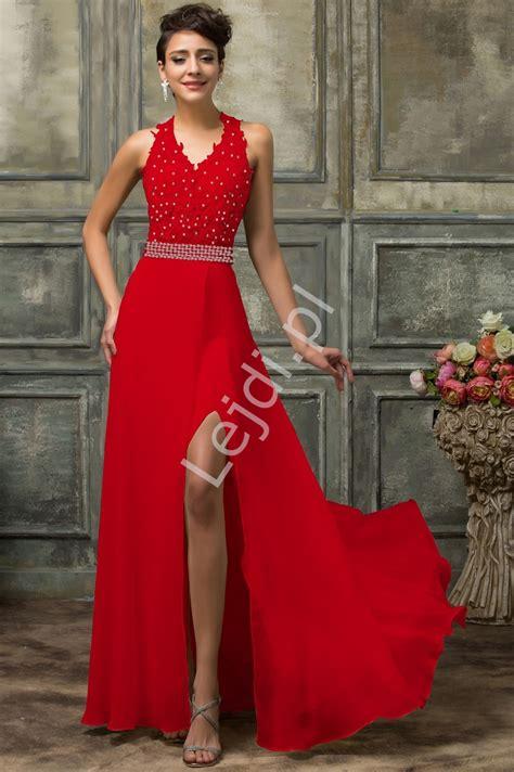 długa koronkowa czerwona suknia zmyslowe sukienki wieczorowe lejdi pl