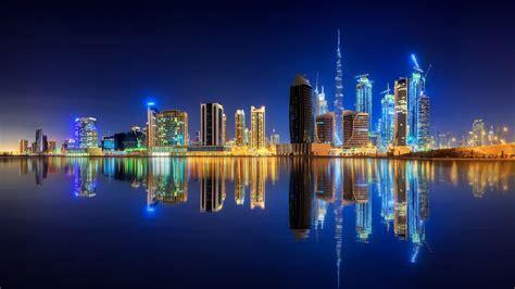 Dubai, City Lights, 8k, Uae, Downtown, Water
