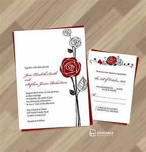 free pdf download red rose invitation and rsvp easy to With edit photo wedding invitations