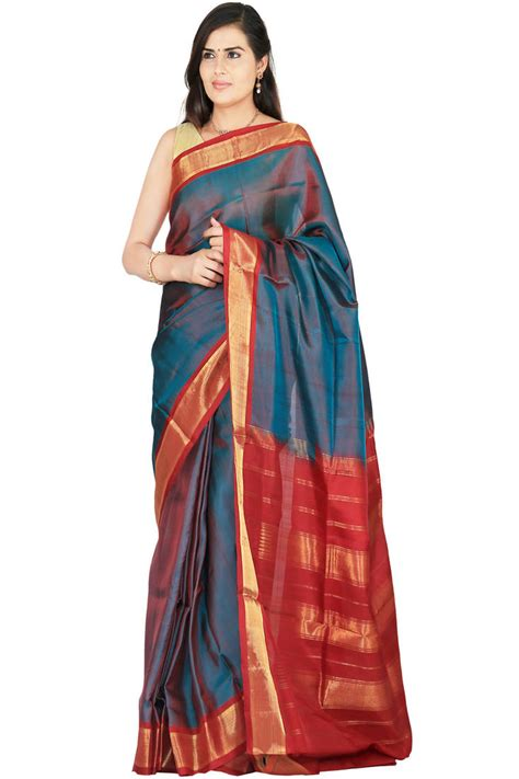 buy blue woven silk saree with blouses saree with blouse