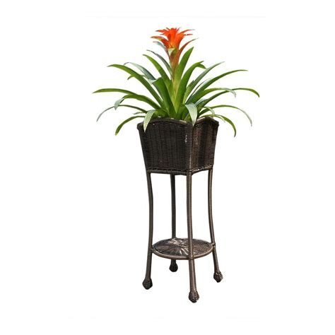 patio furniture plant stands jeco resin honey wicker patio furniture planter stand
