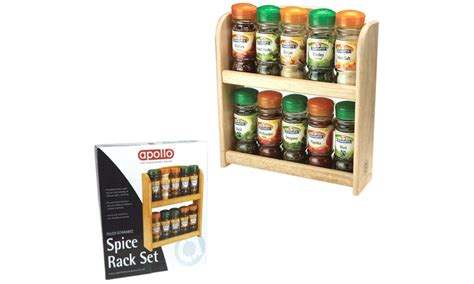 Pre Filled Spice Rack by Apollo Wooden Spice Rack Groupon Goods