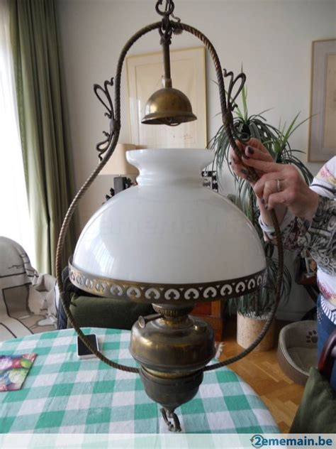lustre ancien suspension bronze et opaline a vendre 2ememain be
