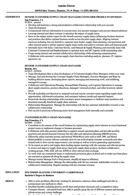 customer supply chain manager resume sles velvet
