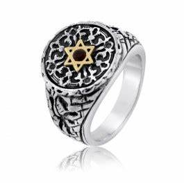 Israeli Jewelry Designers Jerusalem Lion Of Judah Silver And Gold Star Of David Ring With
