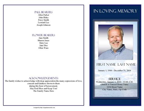 funeral program template  page mountain memory