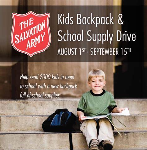 video update salvation army  pack  school supply